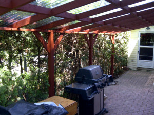 Ottawa Home Renovations Contractor Backyard Pergola Deck red stain
