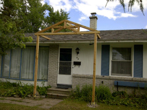 Ottawa home renovations contractor cedar bungalow porch frame day 1
