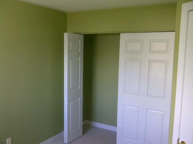 Ottawa Home Renovations Contractor Yvonne and Les Barrhaven turn loft into bedroom Day 3 green paint