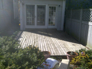 Ottawa Home Renovations Contractor Inika deck pattern inlay Day 1 before