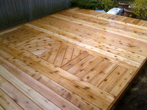 Ottawa Home Renovations Contractor Inika deck pattern inlay Day 3 ready for stain