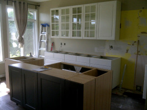 Ottawa home renovation contractor Mark and Lorraine Kitchen Day 9 cupboards installed