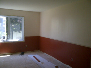 Ottawa renovation contractor Day 3 dining room paint done ready for flooring