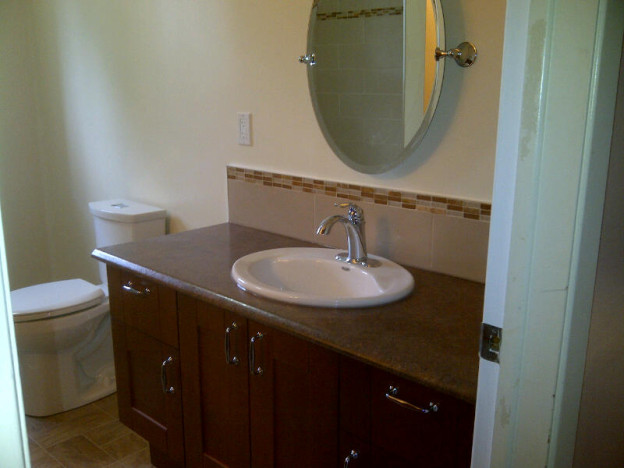 Ottawa home renovations contractor Paul Gratton Reta David Munster Hamlet bathroom Day 9 vanity and sink and toilet
