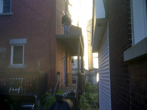 Ottawa home renovations contractor Paul Gratton Dalaney and Nancy 2 storey deck Glebe Day 1 before
