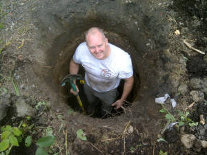 Ottawa home renovations contractor Paul Gratton Dalaney and Nancy 2 storey deck Glebe Day 2 digging holes