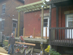 Ottawa home renovations contractor Paul Gratton Dalaney and Nancy 2 storey deck Glebe Day 5 Deck Building