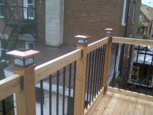 Ottawa home renovations contractor Paul Gratton Dalaney and Nancy 2 storey deck Glebe Day 8 copper solar power lights