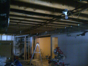 Ottawa renovation contractor Fresh Reno Basement Day 1 ceiling