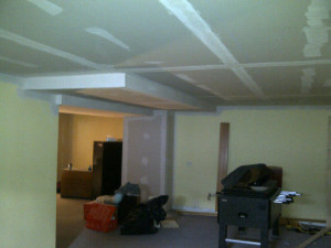 Ottawa renovation contractor Fresh Reno Basement Day 10 taped and mudded ceiling