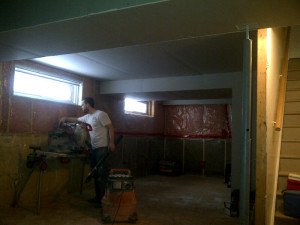 Paul Gratton Ottawa Home Renovation Contractor Orleans Basement Day 5 bulkeads done