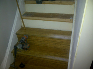 Paul Gratton Ottawa Home Renovation Contractor Day 6 bamboo wood flooring on stairs