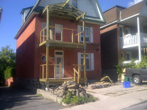 Paul Gratton Fresh Reno Ottawa Home Renovations 2-storey porch Day 10 - framing nearly complete