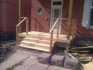 Paul Gratton Fresh Reno Ottawa Home Renovations 2-storey porch Day 12 - Lower level stairs