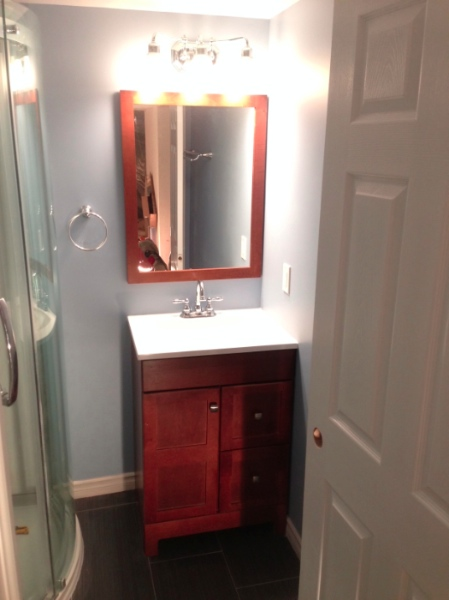 Day 12: Vanity is installed.