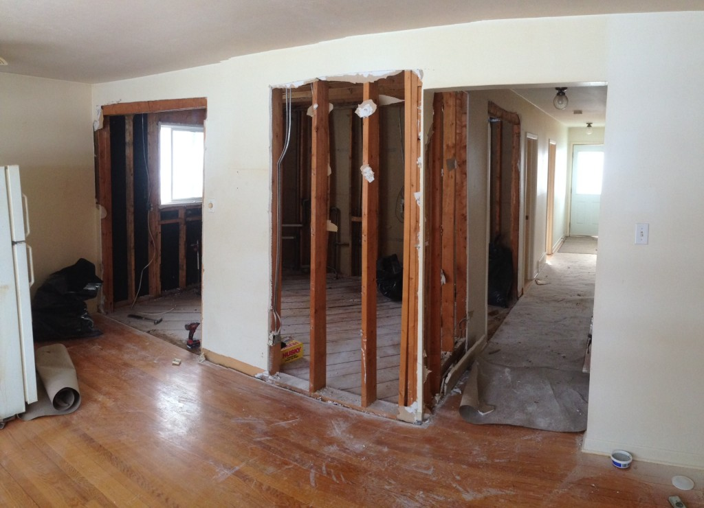 Day 2: The kitchen is demolished and we're opening walls.