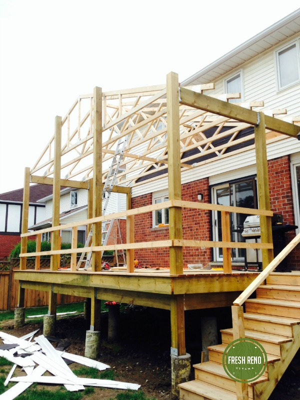 Deck day 10: Monumental effort for just two people but the six trusses are in. Just the ladder truss system to create the overhang at the front to go.