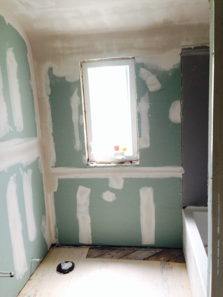 Day 8: mudding the new drywall. That curved ceiling is seriously smooth!