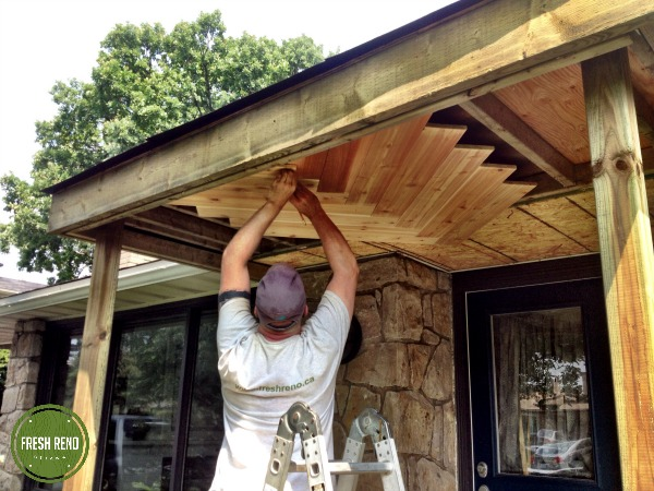 Day 2: Cladding The Porch Ceiling In Cedar. We Were Originally Going To Lay
