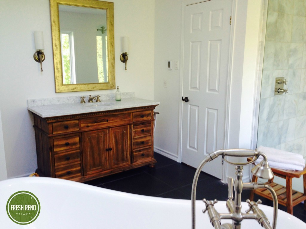 Day 24: Margaret and Roger's bathroom 'after'. Restoration Hardware St. James vanity.