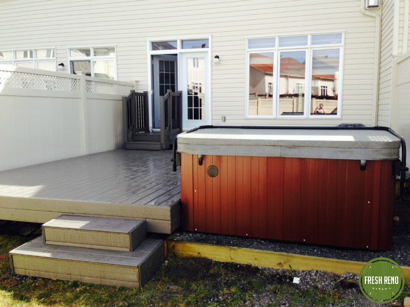 Day 8: Deck, stairs and hot tub installation done. Enjoy!