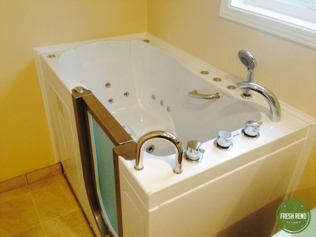Day 20: Walk-in jacuzzi tub installed.