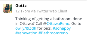 A tweet from Rob. Thanks! So glad you're happy with your bathroom.