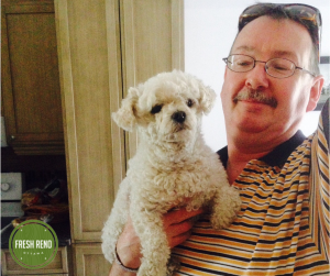 Our bathroom reno client, Robert, and his sweet 11-year-old dog, Tara.