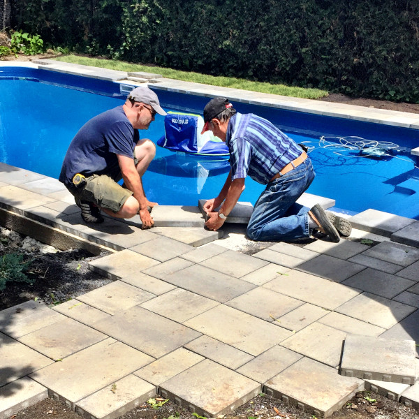 Final tricky cuts around the pool.