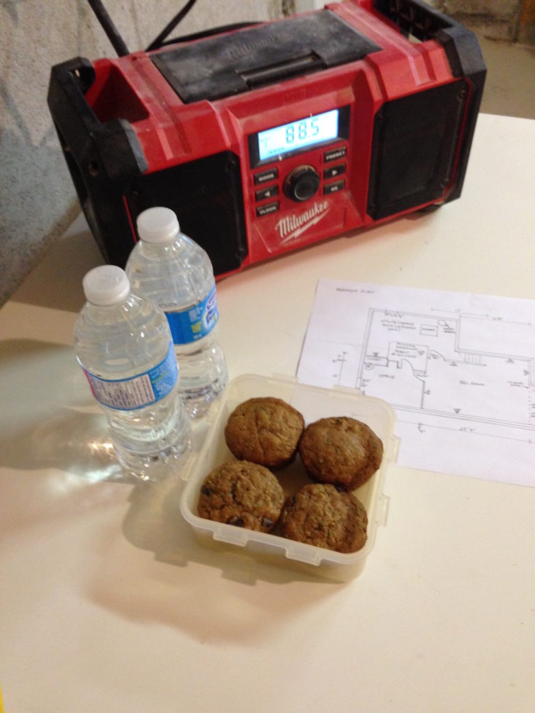 Day 01 muffins and water