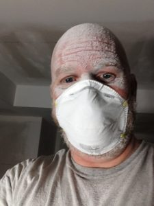Sue and Benoit's basement renovation day 12: Three and a half hours of constant sanding. Shoulder workout anyone?