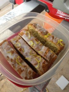 day 13: Homemade zucchini bread with lemon drizzle. Thanks Sue!!