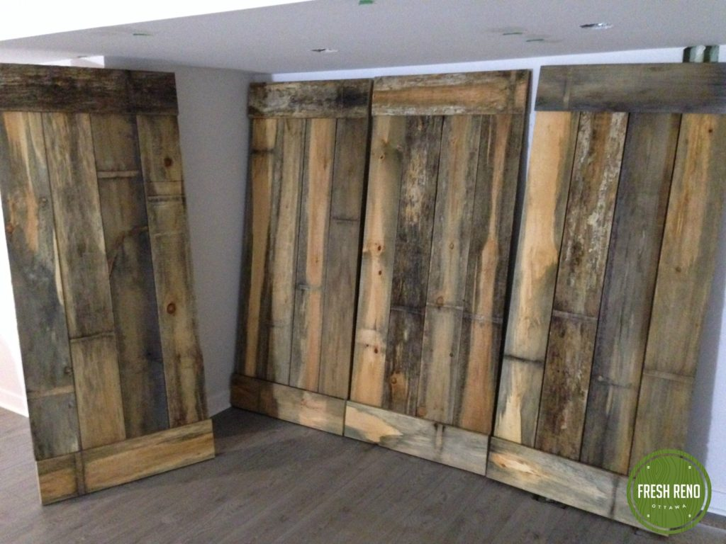 day 16: Built closet doors this morning from the reclaimed barn board from KJP Select Hardwoods.