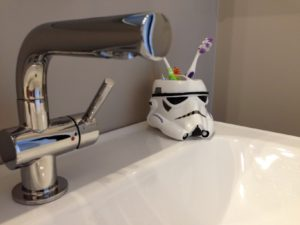 Day 11 Fresh Reno Ottawa renovation contractor storm trooper toothbrush holder