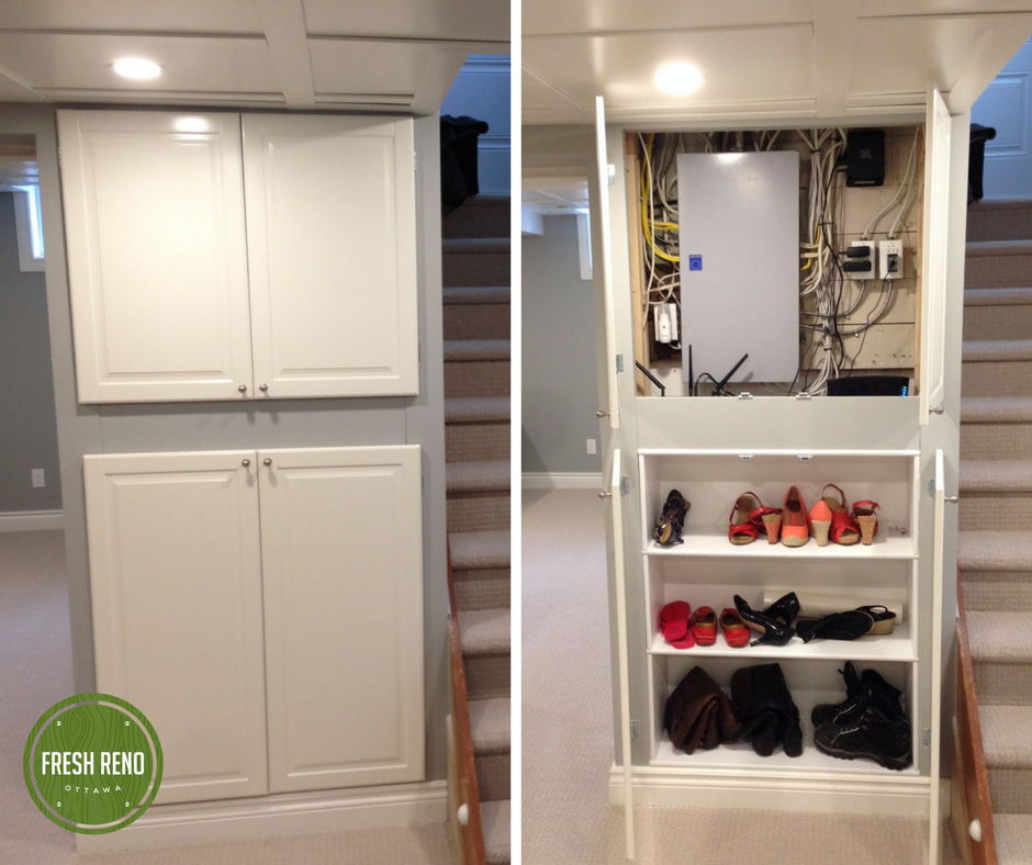 Day 22 Fresh Reno Ottawa renovation contractor basement hide electrical panel shoe storage